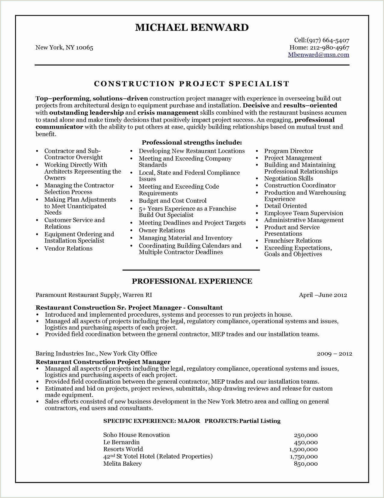 Cover Letter for Construction Professional Cover Letter for