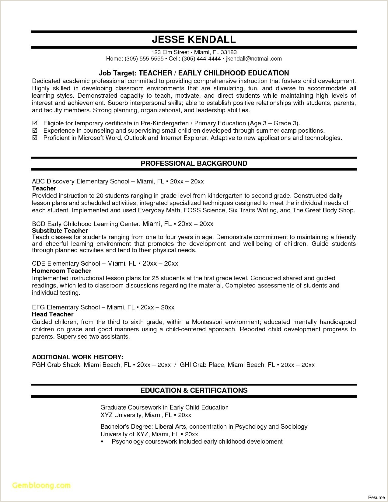 Sample Resume For Teacher Fresh Graduate New Awesome Cover