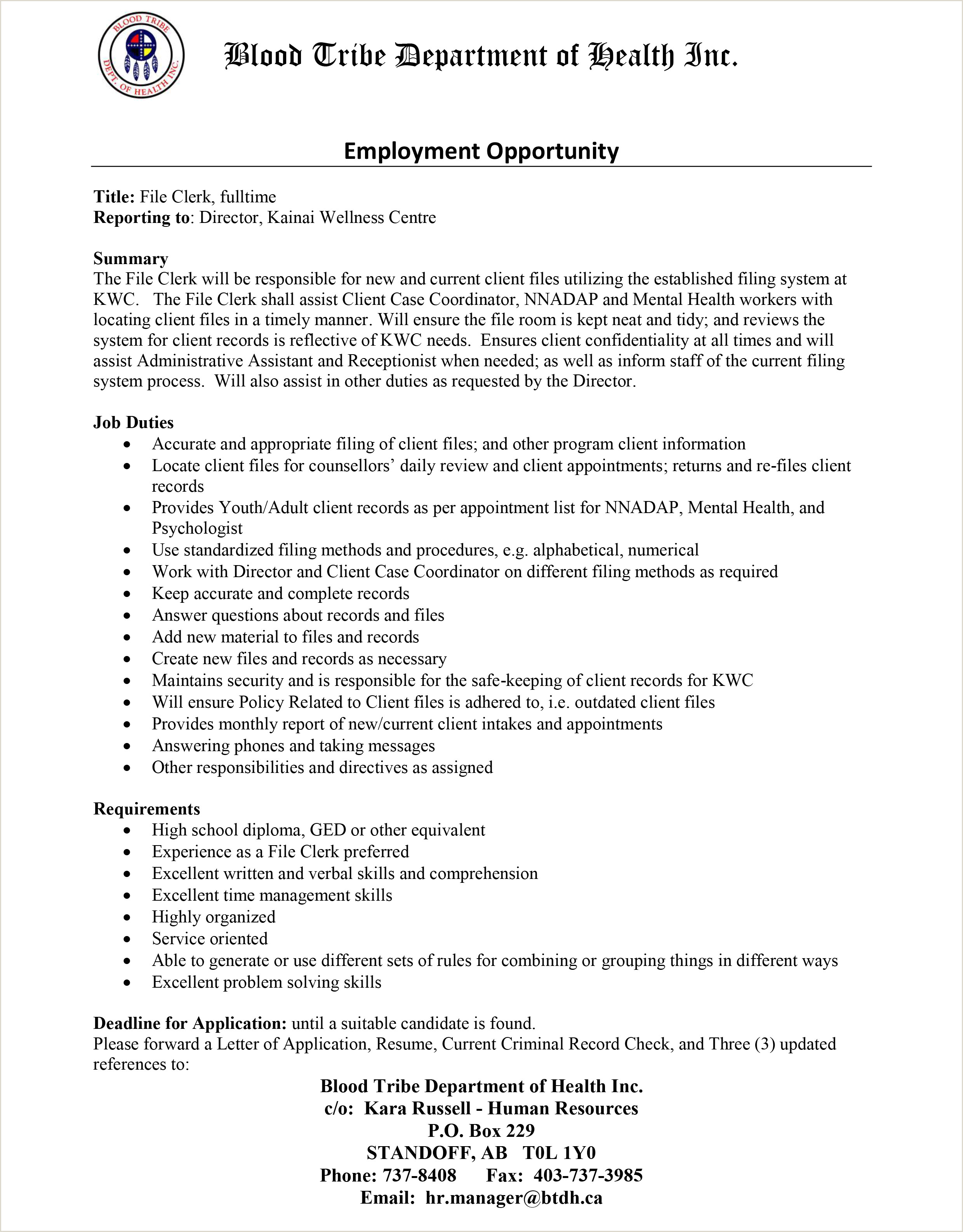 Cover Letter for File Clerk Employment