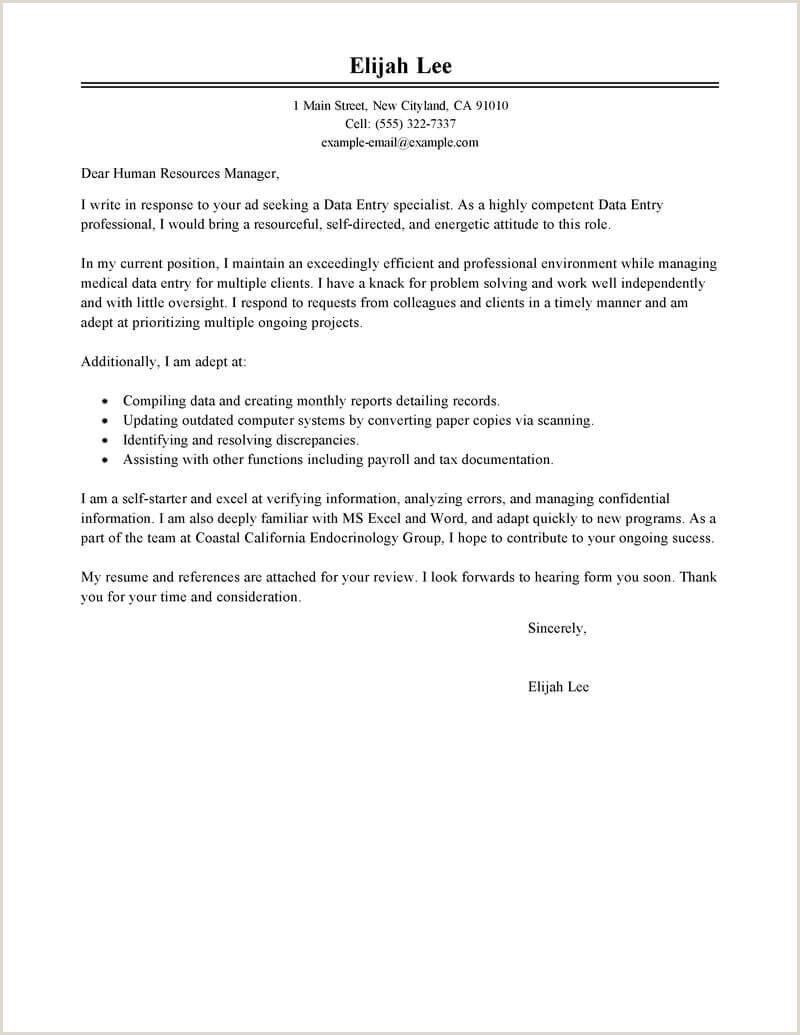 Cover Letter for Finance Internship with No Experience Best Data Entry Cover Letter Examples