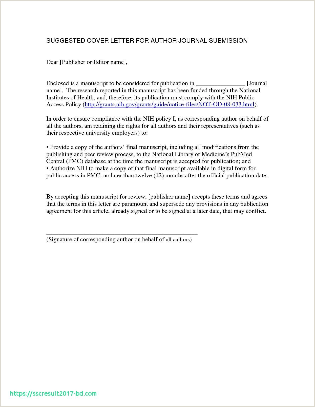 Cover Letter to Editor Journal Cover Letter to Editor