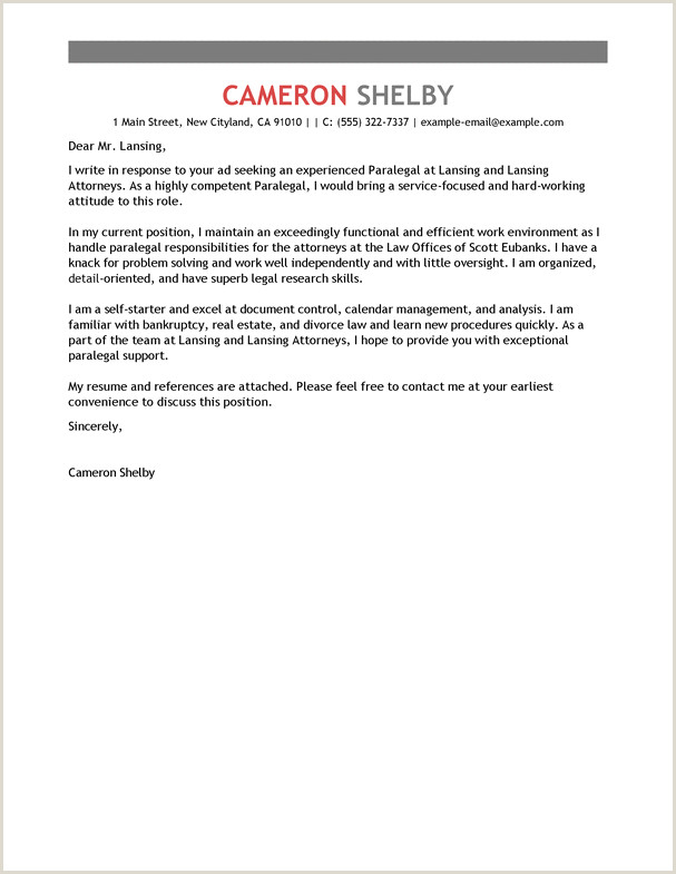 Cover Letter for Paralegal Position Law Firm Examples