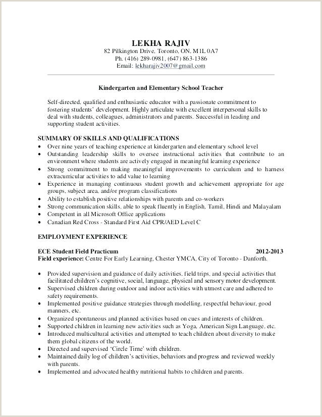 Cover Letter for Preschool Teacher Sample Resume for Teaching Position – Emelcotest