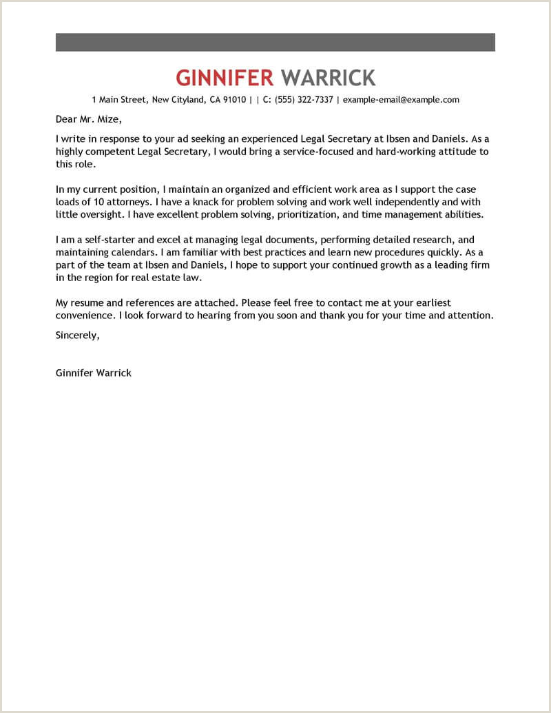 Legal Secretary Cover Letter Sample 19 Legal Assistant
