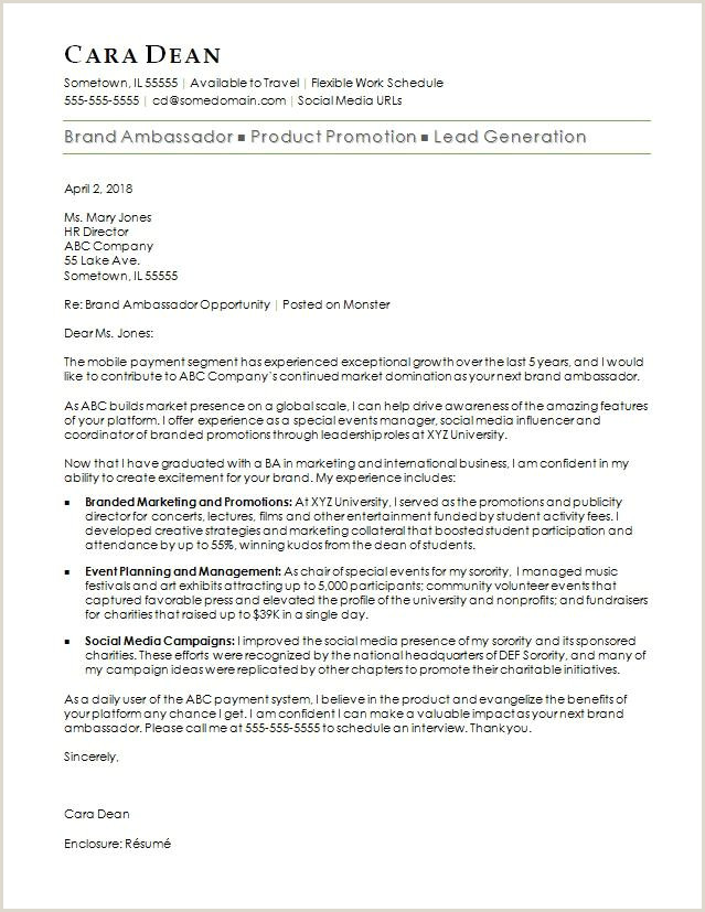 Brand Ambassador Cover Letter Sample