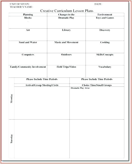 Lesson Plans For Toddlers Template Blank Toddler Lesson Plan