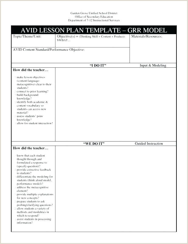 Sample Lesson Plan Template For Elementary Avid Blank Model