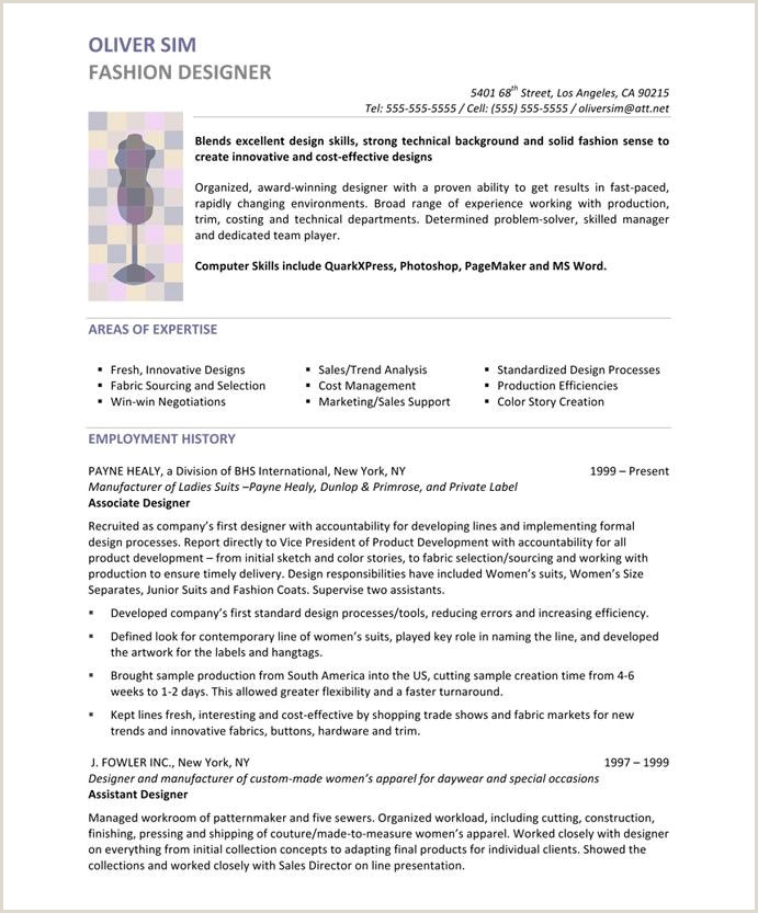 Fashion Designer Page1 Designer Resume Samples