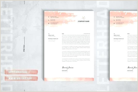 Creative Letterhead Design Psd Free Download Letterhead Template Watercolor Layout Custom Instant