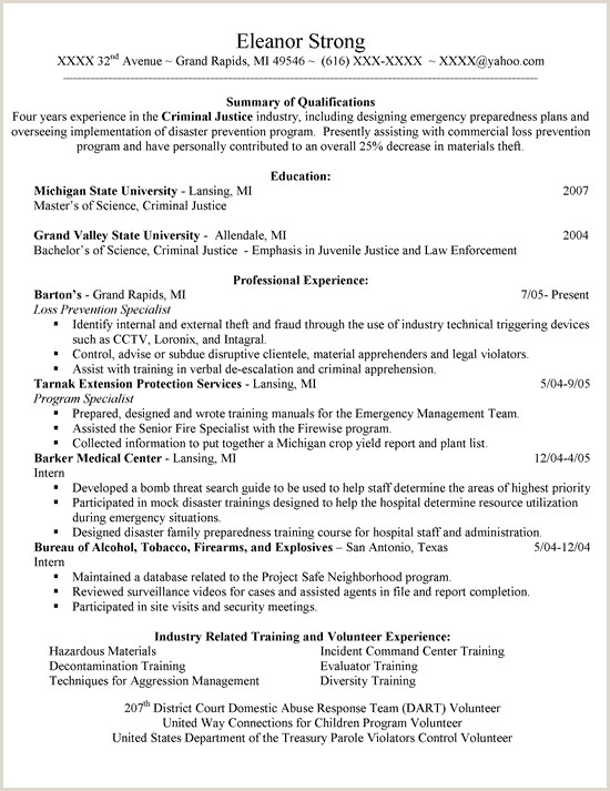 New Criminal Justice Resume Examples