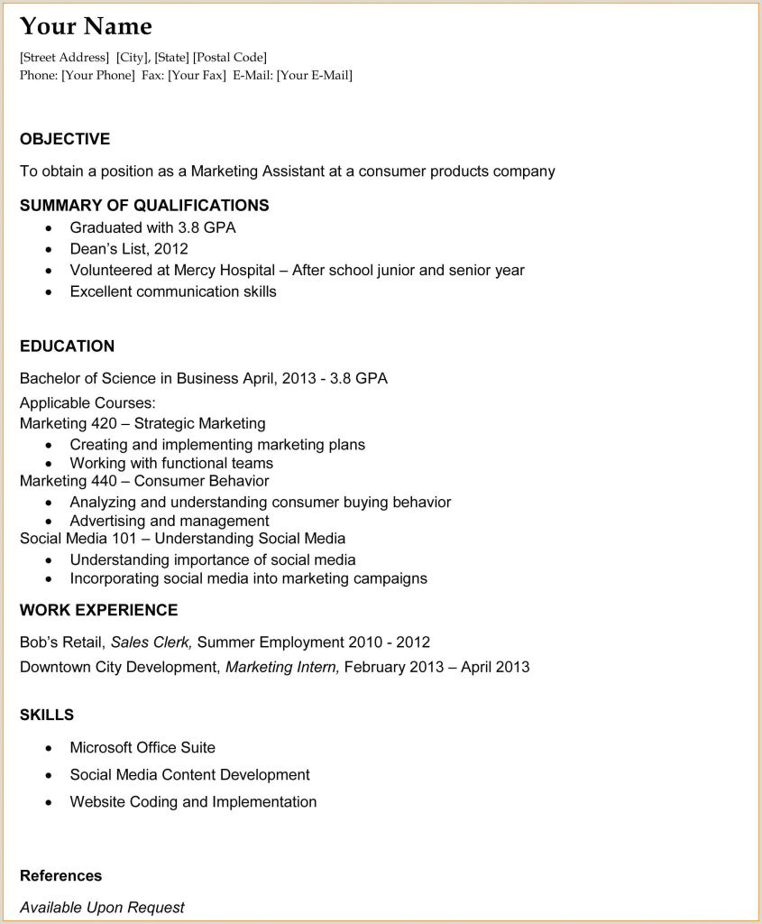 Resume Samples For College Students New Graduatelates