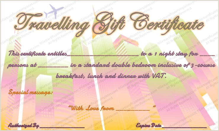 Tour Experience Gift Certificate Template cruise Gift