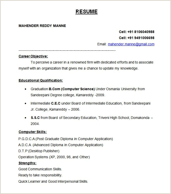 Cs Fresher Cv format 47 Best Resume formats Pdf Doc