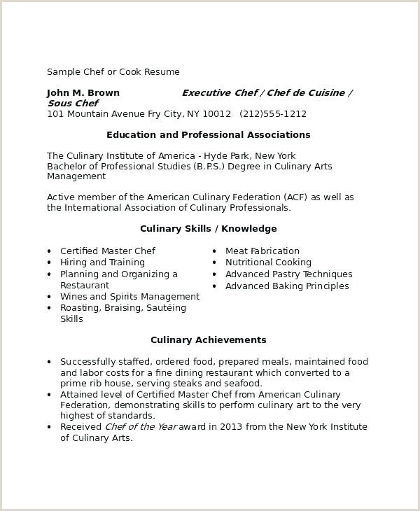 Culinary Resume Templates Image Arts Resumes Template Free