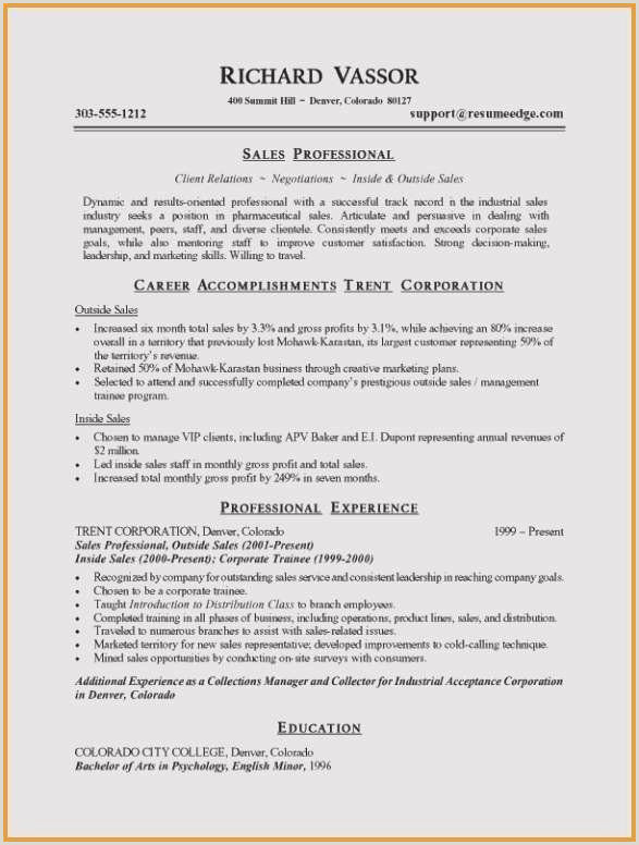 Sales Resume Skills Sample Sample Resume for Culinary Arts