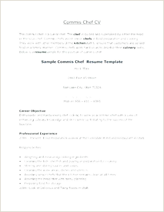 Culinary Resume Template Sample Chef Resume – Agarvain