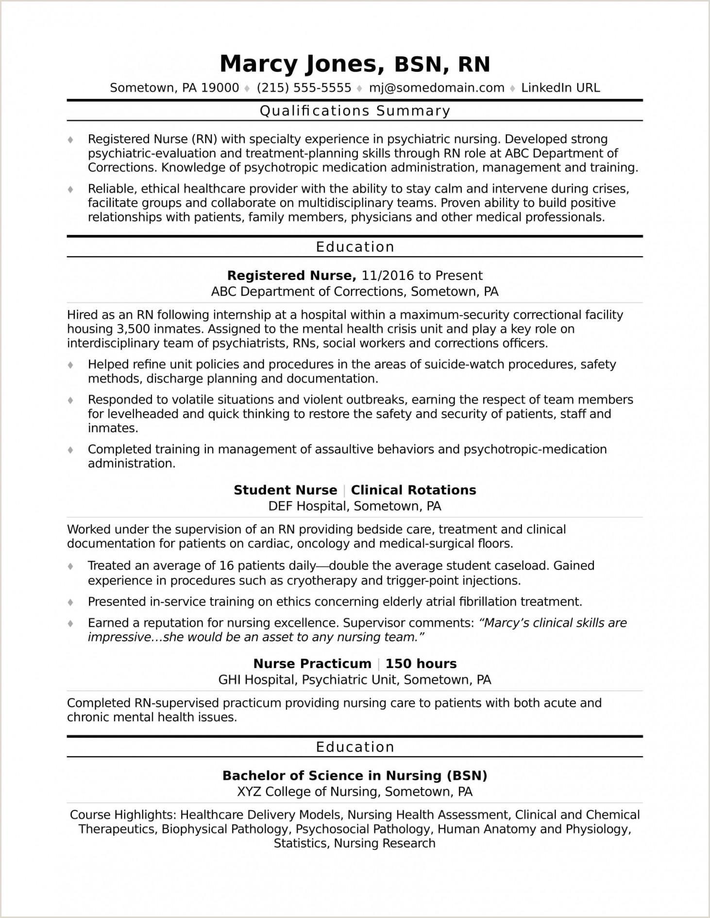 Current Nursing Student Resume Nursing Experience
