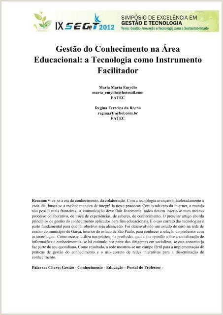 Curriculo Amostra Simples Gest£o Do Conhecimento Na rea Educacional A Tecnologia
