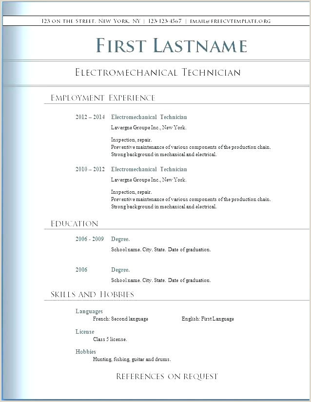 Template Word Curriculum Vitae Sample For Students