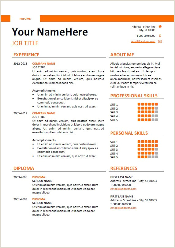 Easy Resume Template Free Professional Simple Resume