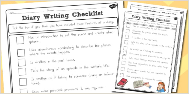 Diary Writing Checklist Differentiated australia diary write