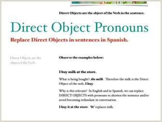 Direct Objects Worksheet for English