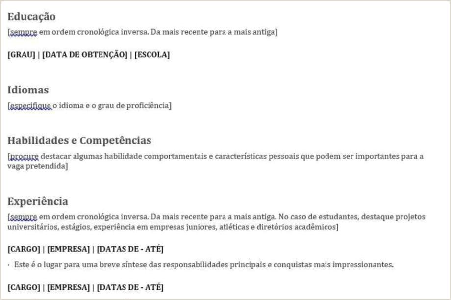 Curriculo Simples Estagio Modelos De Cv Exemples Molde De Curriculo Simples