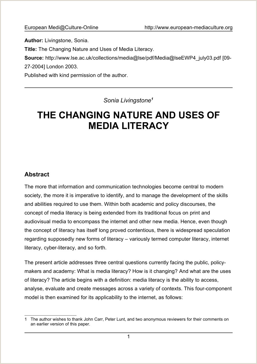 PDF The Changing Nature and Uses of Media Literacy
