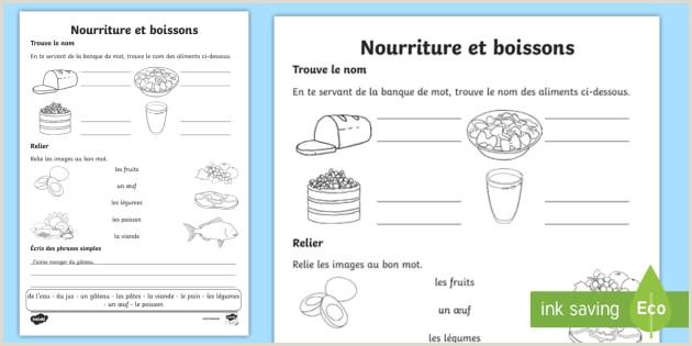 Curriculo Simples Feuille D Activités La Nourriture Et Les Boissons