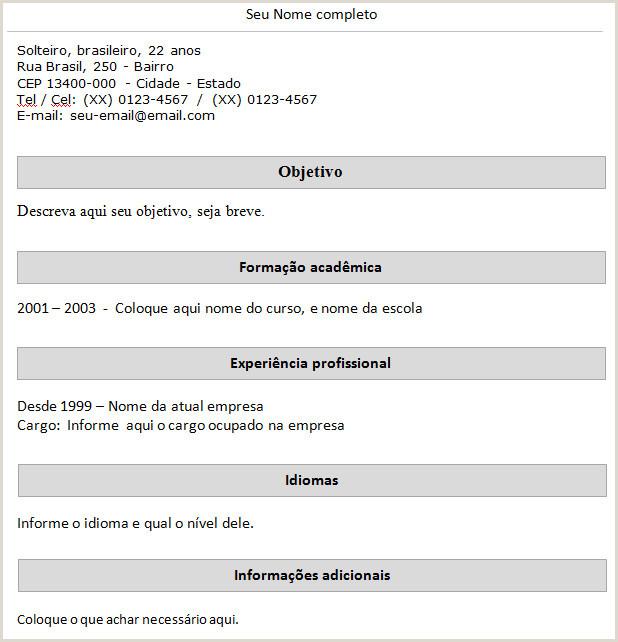 Curriculo Simples Objetivo Modelos De Cv Exemples Molde De Curriculo Simples