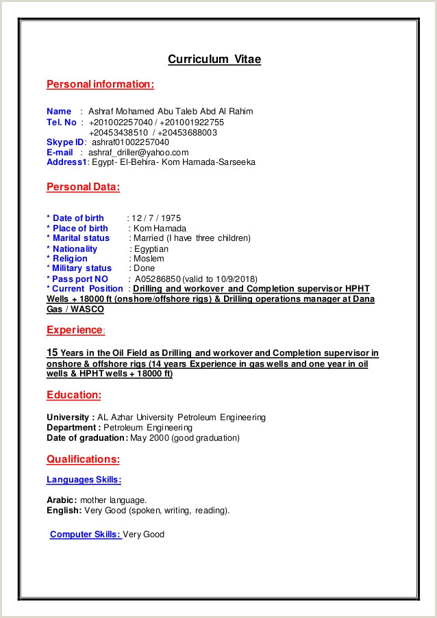 Oilfield Driller Resume Examples