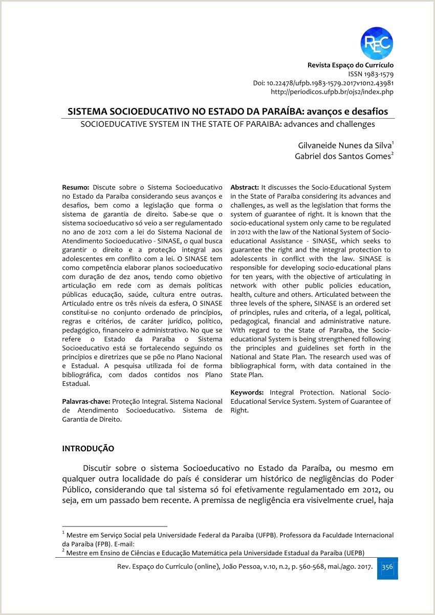 PDF SISTEMA SOCIOEDUCATIVO NO ESTADO DA PARABA avan§os e