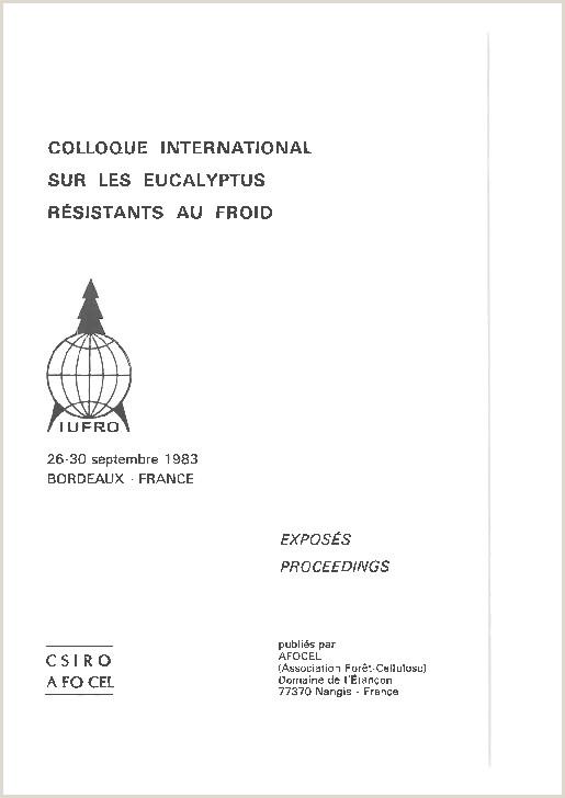 COLLOQUE INTERNATIONAL SUR LES EUCALYPTUS RESISTANTS AU