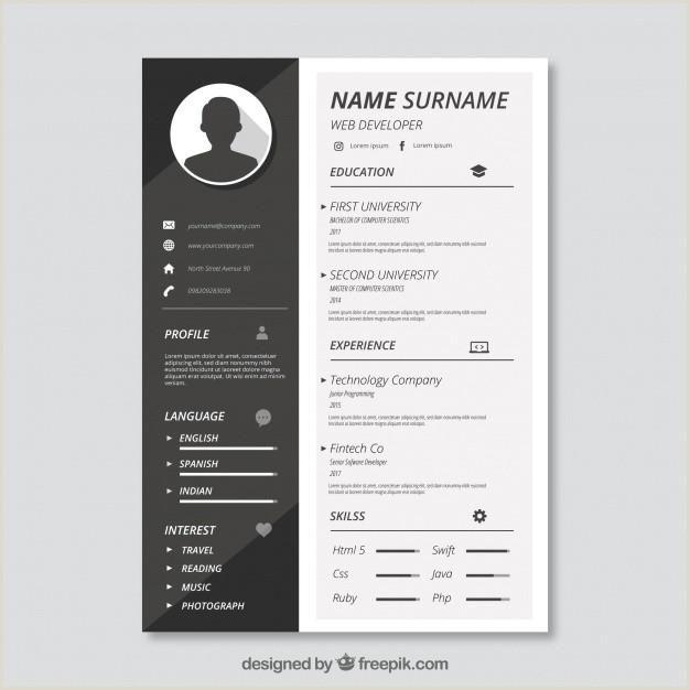 Curriculo Simples Pronto Para Editar Modelo Cv Preto E Branco