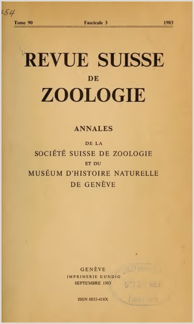 Revue suisse de zoologie Google Drive