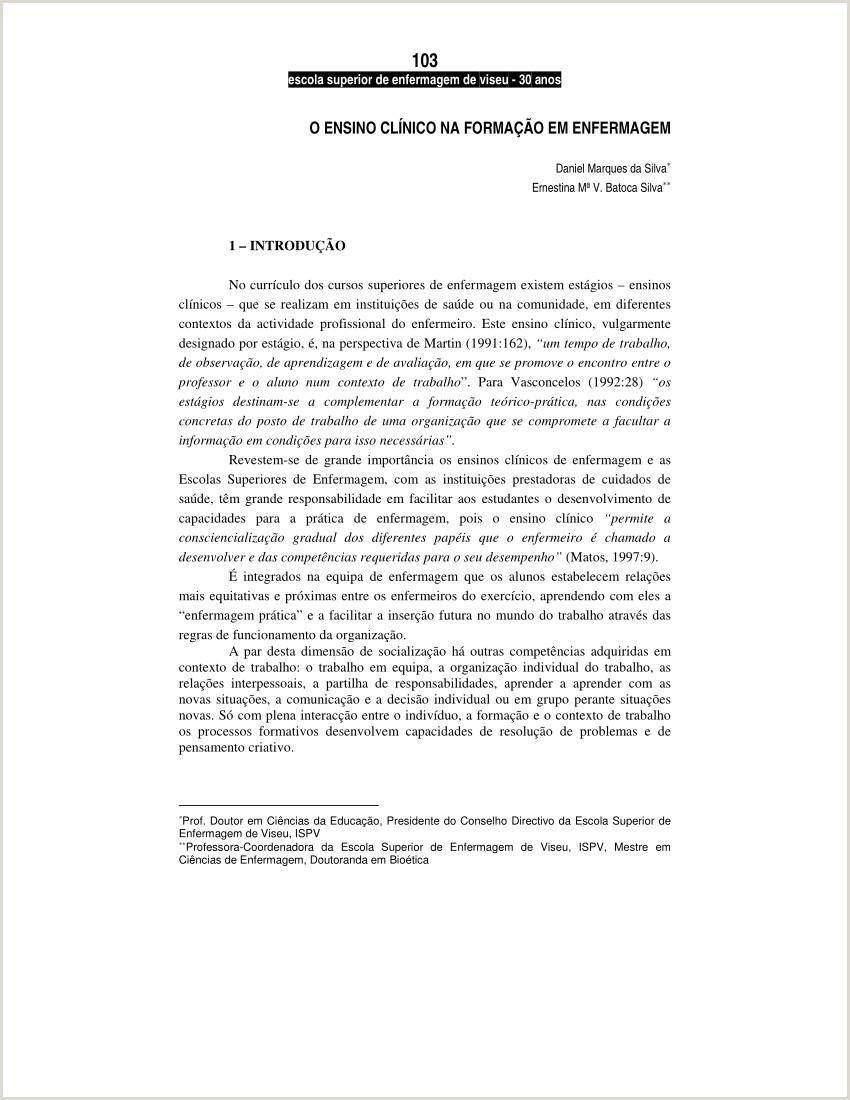 Curriculo Simples Tecnico De Enfermagem Pdf Ensino Clnico Na forma§£o Em Enfermagem