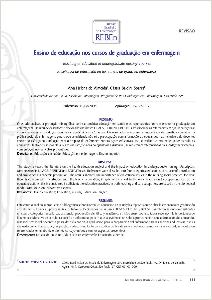 PDF Ensino de educa§£o nos cursos de gradua§£o em enfermagem