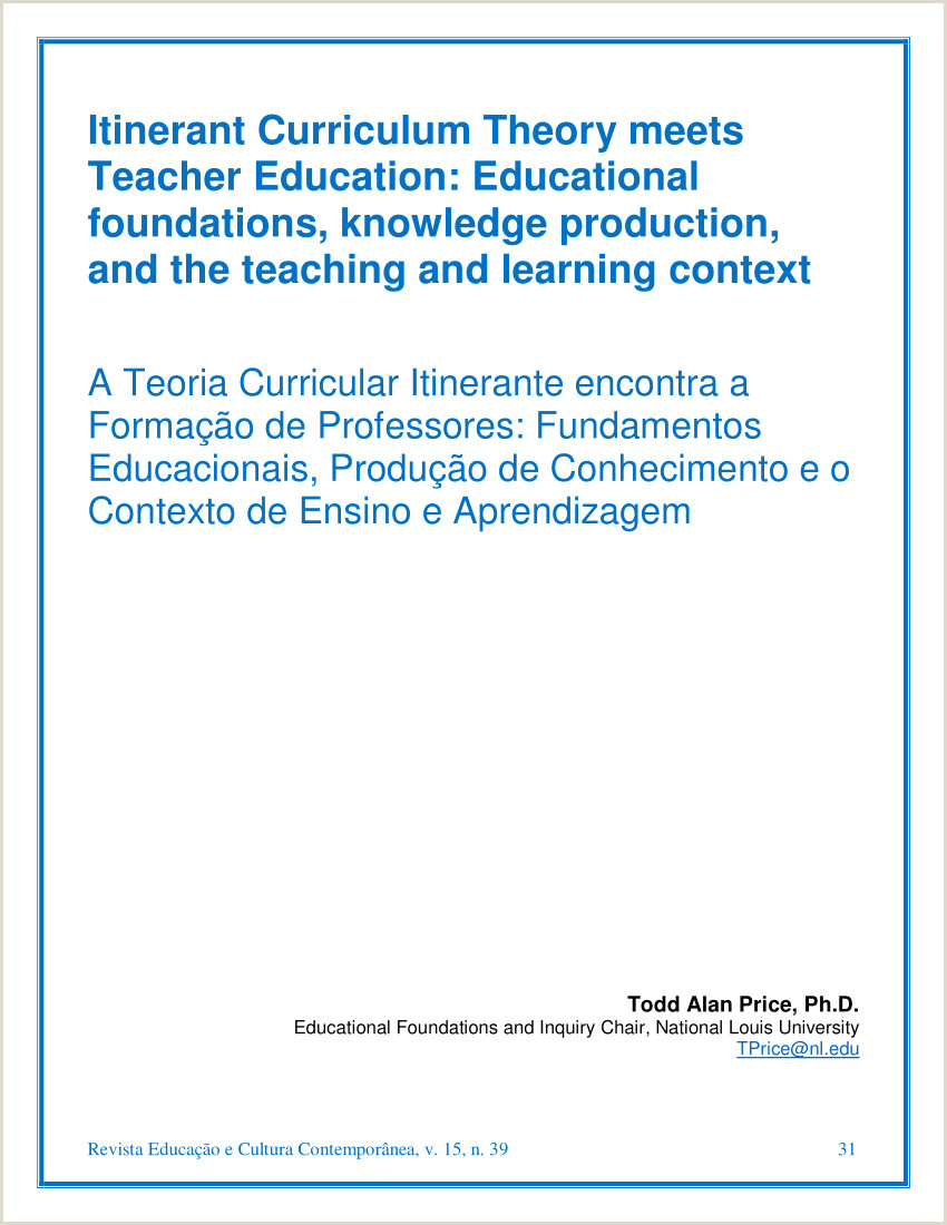 PDF Itinerant Curriculum Theory meets Teacher Education