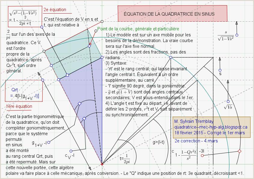 Quadratrice équation de la quadratrice en sinus