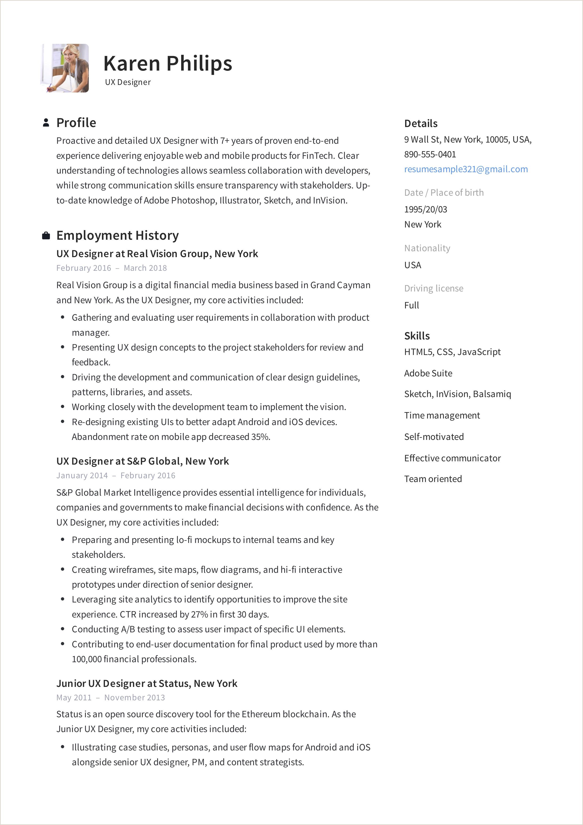 Curriculum Simples Como Fazer 12 Ux Designer Resume Sample S Resumeviking
