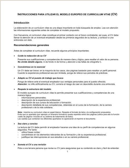 Curriculum Vitae Europeo Para Rellenar E Imprimir forma Cv