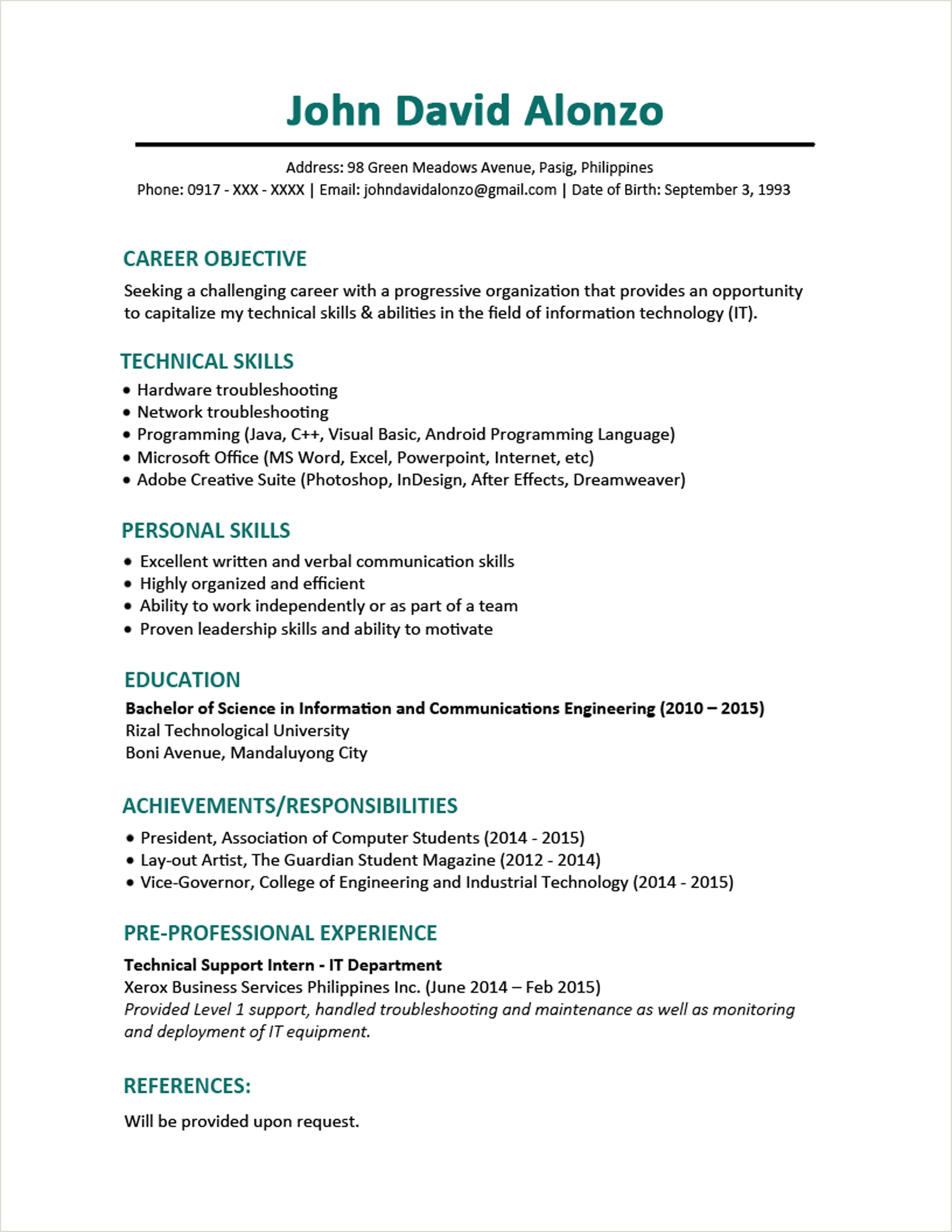 Curriculum Vitae Format Doc For Freshers 3 Page Resume Format For Freshers Resume Templates