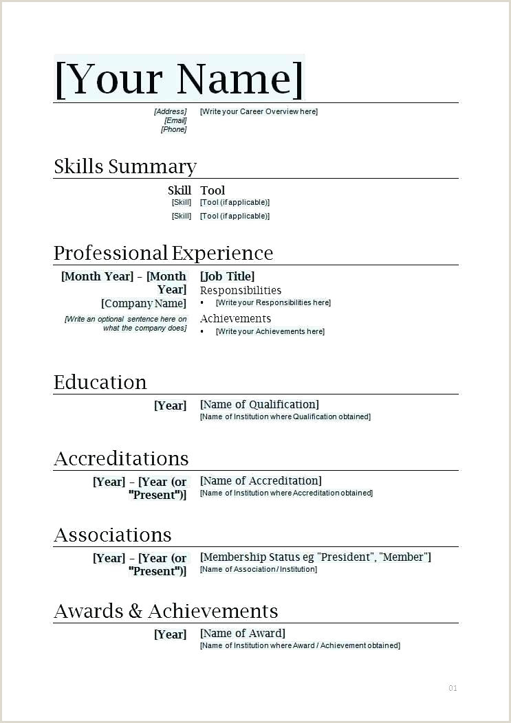 Curriculum Vitae Format Doc For Freshers Simple Resume Template