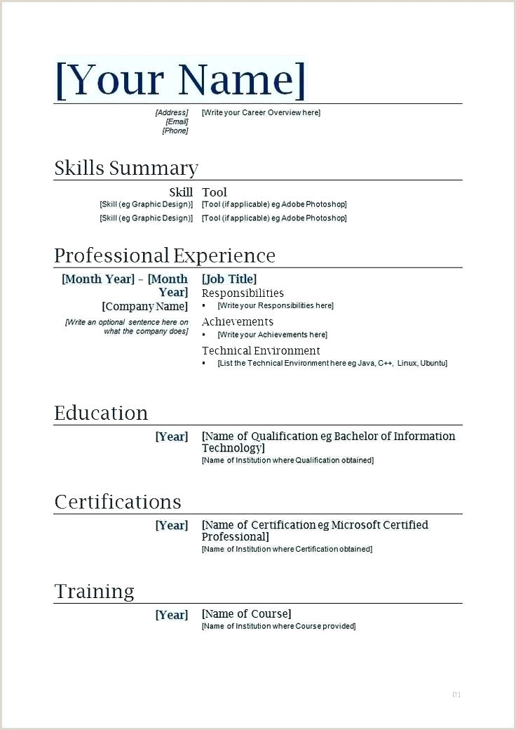 Curriculum Vitae Format Download In Ms Word For Fresher Resume In Word Format – Paknts