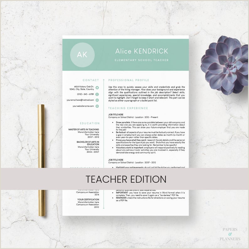 Teacher Resume Template for Word CV Design Curriculum Vitae