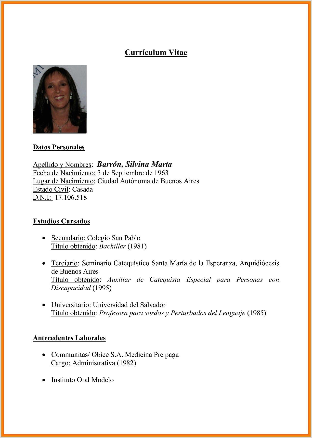 Curriculum Vitae formato Pdf Para Rellenar Gratis Curriculumdoc
