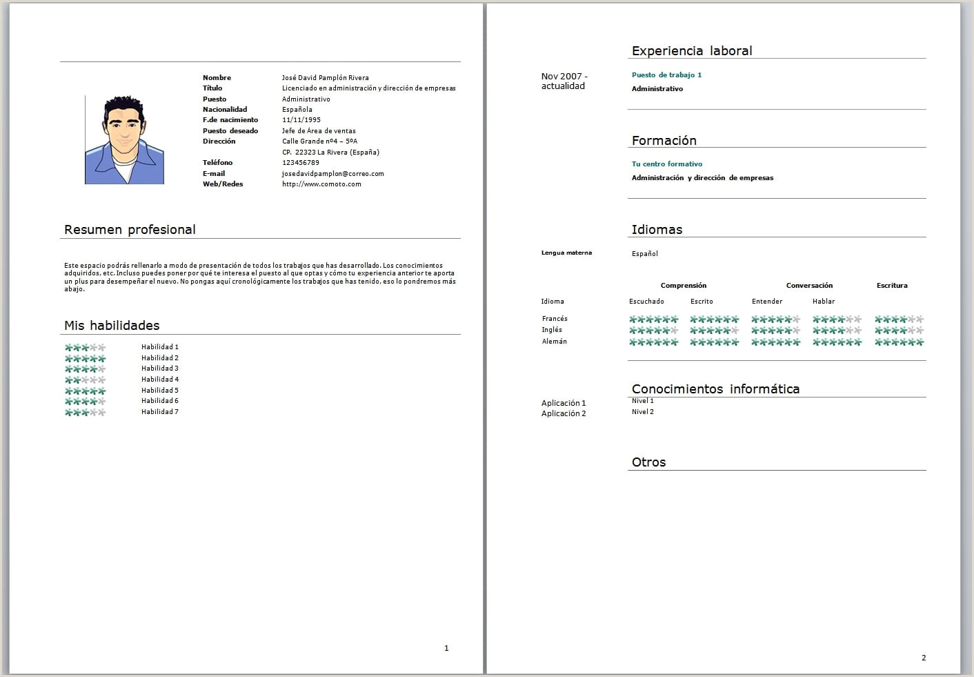 Descargar Pdf Ebook Curriculum Vitae Formato Word Para