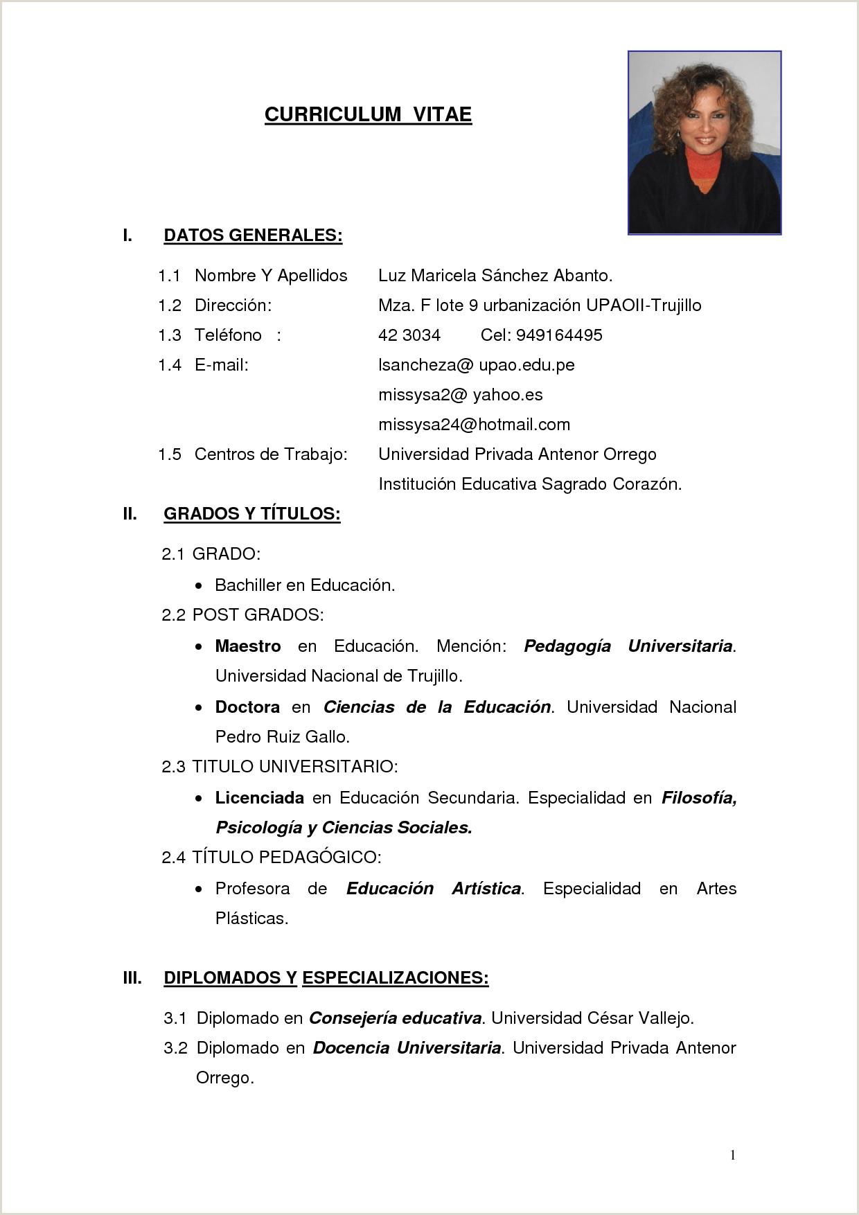 Modelo En Word De Curriculum Vitae Cv