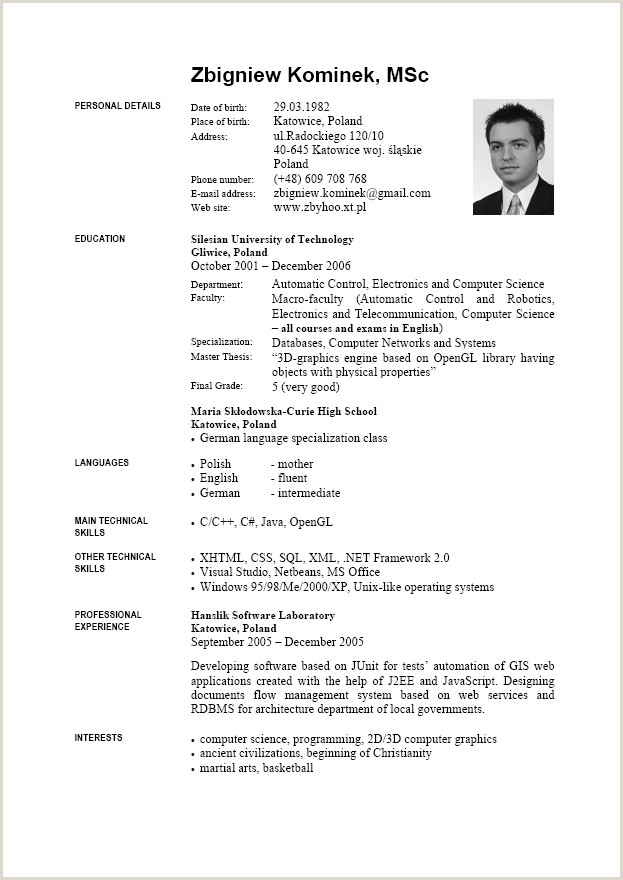 Cv in engleza format word