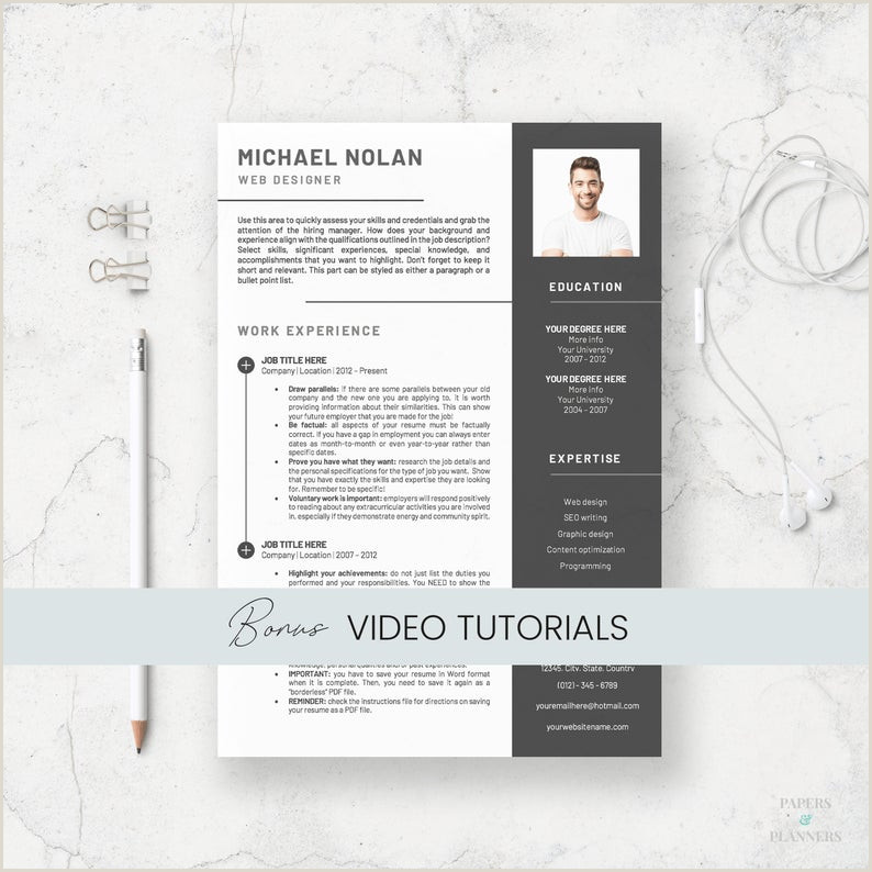 Curriculum Vitae for Word Instant Download Resume with Resume Template for Word CV Design with Cover Letter
